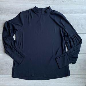 Ann Taylor navy mock neck blouse. Size M.